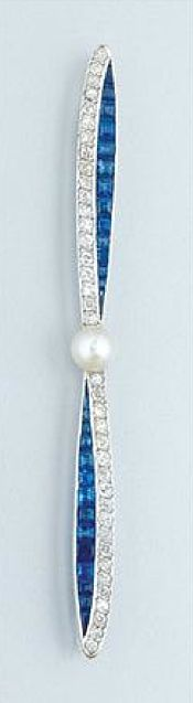 Sapphire, Diamond and Pearl Bow Brooch   Platinum, one pearl ap. 5.0 mm., c. 1920