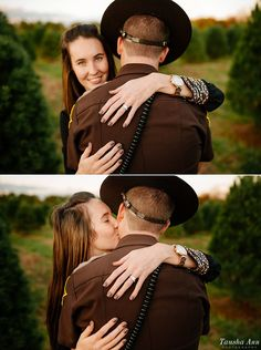 Tausha Ann Photography | Nashville TN Wedding Photographer » Police Officer Surprise Proposal at Country Cove Christmas Tree Farm | Murfreesboro, TN   Sigma 35 1.4 | Nikon | Engaged | Engagement Photography | Posing Ideas Couples | Men in Uniform | Engagement Ring