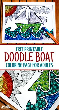 So cute - finally a free printable coloring page for adults that is perfect for my son's bedroom decor! Color in the detailed colouring page and hang in a kids room. This doodle boat themed page is perfect for the summer or even for the playroom