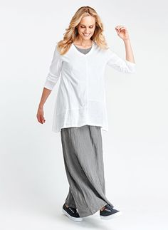 FLAX Designs   Linen Pants  Airy Floods  L /&  3G   NWT  HERB  STRIPE