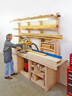 Learn Woodworking Multipurpose Workcenter Woodworking Plan from WOOD Magazine - Store lumber, cut it to length, shape and assemble it, and organize supplies in one super station. Dimensions: x x Featured in WOOD Issue September 2015 Kids Woodworking Projects, Easy Wood Projects, Learn Woodworking, Woodworking Patterns, Woodworking Techniques, Popular Woodworking, Woodworking Furniture, Furniture Plans, Woodworking Plans