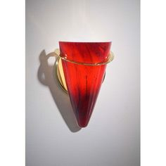 Polished Brass Wall Sconce w/ Magma Red Glass