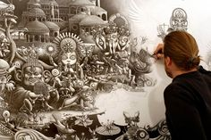 American artist Joe Fenton dedicated 10 months of his life to create a single drawing. Ten hours a day, 7 days a week, 8ft across & 5ft high. He started working with an 0.5 mechanical pen and finished with ink and acrylic.