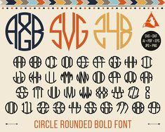 Circle Bold Monogram Font Svg 3 Round Letters Monograms Svg Cuttable Rounded Alphabet Svg for Cricut Silhouette Monogram Font Dxf Png Eps Ai