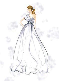 abito da sposa monospalla con gonna in mikado - Mariana Cino  #marianacino #bride #sposa #white #grey #fashionillustration #shoulder #new #plissè
