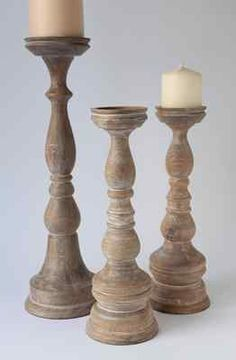 Pottery Barn Amherst Wood Pillar Candle Holder Large