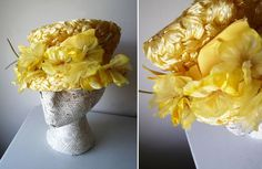 Vintage Yellow Straw Raffia Tall Pillbox Hat Dramatic Yellow Flowers DERBY Hat #StixBaerFuller #Bucket #SpecialOccasion #weddingHat #gardenPartyHat #derbyHat #vintageHat #yellowHat