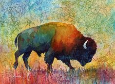 Bison Acrylic Print featuring the painting American Buffalo 4 by Hailey E Herrera Buffalo Animal, Buffalo Art, American Bison, Native American Art, Buffalo Pictures, Bison Tattoo, Buffalo Tattoo, Buffalo Painting, Paint Paint