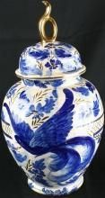 Vintage Hand-Painted Blue & White Majolica Ginger Jar with Bluebird of Happiness