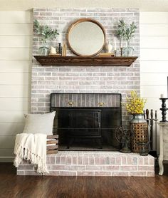 The Best Fireplace Ideas for Farmhouse - fireplace decoration,fireplace decor ideas,fireplace decorations Brick Fireplace Decor, Concrete Fireplace, Farmhouse Fireplace, Home Fireplace, Fireplace Remodel, Living Room With Fireplace, Farmhouse Decor, Living Room Decor, Fireplace Ideas
