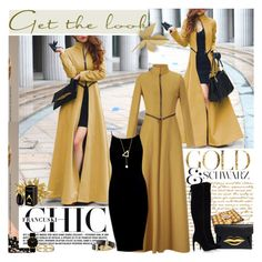 """Romwe long coat"" by reka97 ❤ liked on Polyvore featuring Candie's, Givenchy, Sam Edelman, Charlotte Olympia, Larsson & Jennings, Sole Society, H&M, gold, romwe and blackdress"