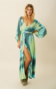 Blu Moon Angel Sleeve Maxi With Slits In Tides