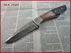 Damascus Custom Made Hunting Knife,Buffalo Horn,Color Bone,Steel Bolster Handle. #Homelandknives