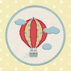 Up Up and Away. Hot Air Balloon Ride Clouds Sweet por andwabisabi