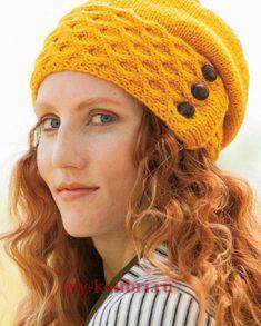 """Вяжем спицами женскую шапку """"Солнечные соты"""": схема и описание на Колибри. Отличный дизайн в современном молодежном стиле. В такой шапочке можно отправиться на прогулку, учёбу или даже работу."""