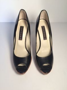 STEVEN by Steve Madden Black Patent Leather LALO Peep Toe Pump Heels SZ 7.5 #StevenbySteveMadden #OpenToe #WeartoWork
