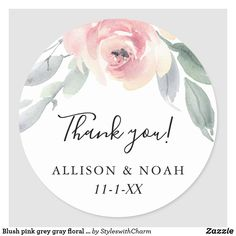 Shop Blush pink grey gray floral simple elegant favor classic round sticker created by StyleswithCharm. Pink Grey, Blush Pink, Gray, Cute Sun, Thank You Stickers, Wedding Thank You, Round Stickers, Wedding Trends, Watercolor Flowers