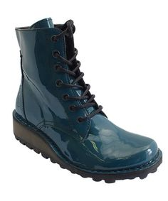 Look what I found on #zulily! Teal & Black Marv Patent Leather Boot by FLY London #zulilyfinds $89.99
