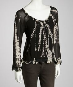 Take a look at this Black Sheer Tie-Dye Crocheted Top - Women by Ash & Sara on #zulily today!