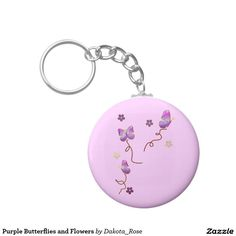 Purple Butterflies and Flowers Basic Round Button Keychain