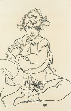 'I learned a lot' … Seated Girl with Legs Spread (1918) by Egon Schiele.