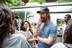 """Matthew McConaughey brought out the scruff while attending his """"Just Keep Livin'"""" pop-up shop in Austin, Texas on Friday, April 17."""