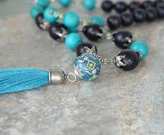 Turquoise silk tassel necklace Chunky wood bead necklace Boho bead pendant Bohemian jewelry Big bold beaded necklace Tassel pendant