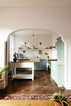 Kitchen Interior Design Remodeling devol kitchen with mint green cabinetry. / sfgirlbybay - this kitchen is one of devol's divine spaces -- an Edwardian Villa in Cardiff, on the south coast of Wales, reminiscent of how our kitchens used to look Devol Kitchens, Home Kitchens, Modern Kitchens, Küchen Design, House Design, Layout Design, Design Ideas, Clever Design, Design Styles