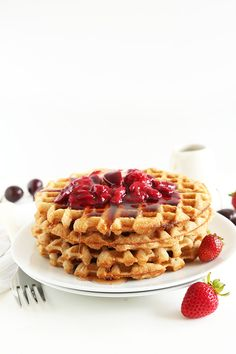 7 Ingredient Oatmeal Waffles! Vegan, Gluten Free and perfectly crisp and delicious! One bowl required and freezer-friendly!