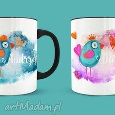 zestaw kubków dla żony i męża / zakochane ptaszki, miłość, personalizacja