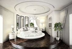 Love the raised area for the bedroom