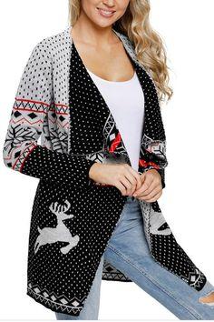 88177bd39d Pavacat Christmas Turn-down Collar Cardigan. Ugly Christmas Sweater WomenChristmas  ...