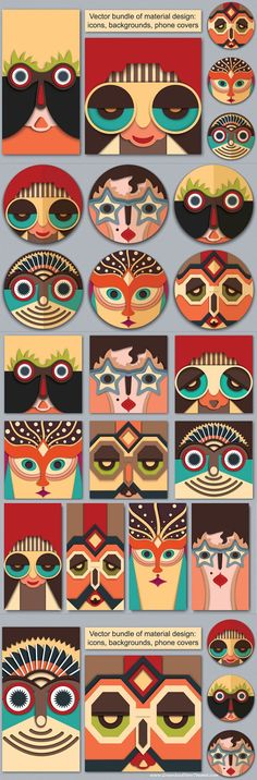 Vector bundle of material design. Here you can see the cheerful hipster with aviator sunglasses, surprised guy in the african mask design, retro coquette with star glasses, funny man with feathers on the head, woman with head accessories and male mask with #tribal ornament and glasses. All #vector #masks I made in the modern #materialdesign #graphics