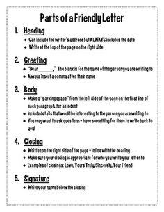 this handout outlines the 5 parts of a friendly letter heading greeting body