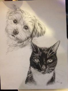 Portrait of Chloe and Cujo- graphite
