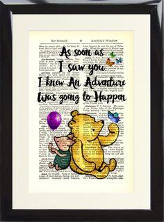 Art Print Dictionary Winnie The Pooh Tigger Adventure Happen Nursery Picture