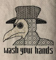 Plague Doctor Blackwork by Stitchatorium on Etsy by – It's All About Better LifeStyle Geek Cross Stitch, Cross Stitch Quotes, Cute Cross Stitch, Cross Stitch Bird, Cross Stitching, Cross Stitch Patterns, Blackwork Embroidery, Cross Stitch Embroidery, Blackwork Cross Stitch