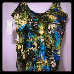 ☀PLUS SIZE PURPLE/AQUA/SILVER SWIMSUIT☀ BNWT. GORGEOUS, METTALIC COLORS - GREEN, PURPLE, YELLOW,VIOLET & AQUA! FIGURE FLATTERING!  1st 3 photos actual swimsuit/last photo stock, not exact pattern but shows swimsuit style. Swimsuits for All Swim One Pieces