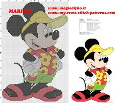 Grille de point de croix gratuit Mickey Mouse Disney en vacances                                                                                                                                                      Plus