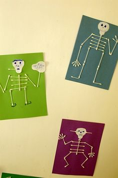 "Halloween skeletons to accompany a lesson about the parts of a book. Or use this activity after reading one of the ""Parts"" books by Tedd Arnold. Or S is for Skeleton Theme Halloween, Halloween Skeletons, Halloween Activities, Holidays Halloween, Craft Activities, Halloween Kids, Halloween Crafts, Halloween Decorations, Fall Crafts"