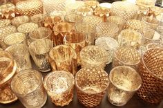 72 Gold Bronze&silver Glass Candle Votive Holders $280