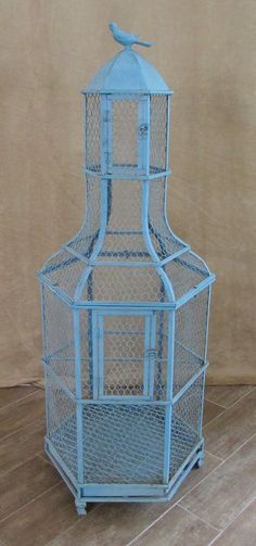 4 foot Decorative Birdcage Green wrought Iron Metal large bird house cafe wire