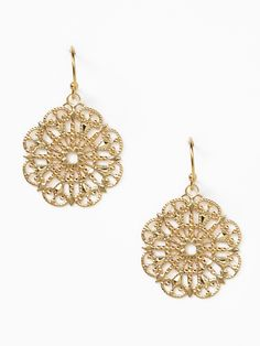 Gold Lace Disc Drop Earrings by Privileged 25
