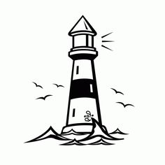 Coloring Pages For Kids, Coloring Books, Lighthouse Clipart, Lighthouse Drawing, Free Clipart Images, Art Clipart, Sand Crafts, Clip Art, Badge Design
