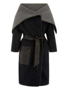 Nacy/Grey Marl/Black Milat Drape Coat #Muubaa #AW15