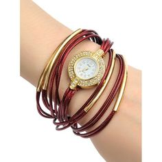 Rhinestone Faux Leather Rope Bracelet Watch #>=#>=#>=#>=#> Click on the pin to check out discount price, color, size, shipping, etc. Save and like it!
