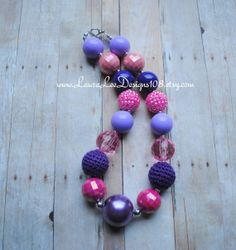 Pink and Purple Bubblegum Necklace by LauraLeeDesigns108 on Etsy, $15.99