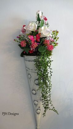 Shabby Chic Floral Cone Wall Pocket Romantic by PJH Designs