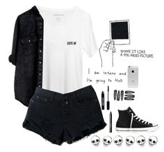"""""""cute af"""" by claire-593 ❤ liked on Polyvore featuring Converse, Monki, NARS Cosmetics, Lord & Berry and Retrò"""