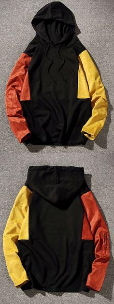 Color Block Panel Drop Shoulder Pullover Hoodie